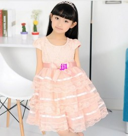 2014 free shipping 2013 new childrens clothing bowknot solid color Pompon dress girls dress p734 okfree shipping girls dress up dresses girls flower girl dress girls one piece dress
