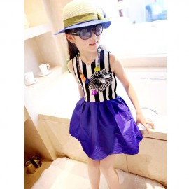 2014 spring and summer girls fashion striped patchwork dresses baby kids flower dress childrens clothesfree shipping Dresses Cheap Dresses 2014 spring and summer gi
