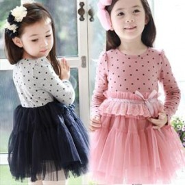 2013 spring girls clothing cotton 100% circle dot lace long-sleeve princess one-piece kawaii dresses novelty and bow dress dress long sleeve tunic d dress up girls dresses bow lace dress