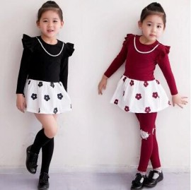 2014 Autumn New Childrens Clothing Girls Dress + Necklace flower girls long-sleeved dress clothes Free shipping Dresses Cheap Dresses 2014 Autumn New Children