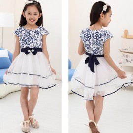 2014 New Summer Children girl chinese vintage design blue and white porcelain bowknot princess dresses for kids cloth Dresses Cheap Dresses 2014 New Summer Children