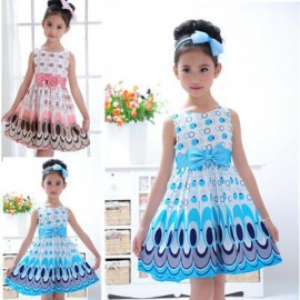 2013 Kids Girls Dress cute peacock color sleeveless princess dress circle Korean Fashion Blue childrens clothing New Dresses Cheap Dresses 2013 Kids Girls Dress cut