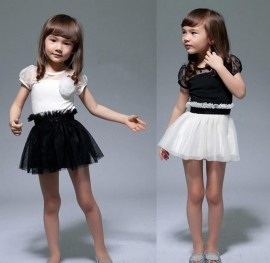 Kids Toddlers Girls White Black Flower Princess Tutu Mini Dress 2 7yrs New Dresses Cheap Dresses Kids Toddlers Girls White