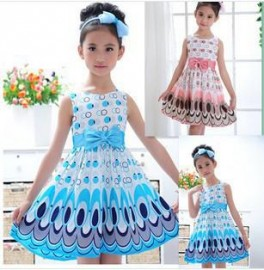 2014 Kids Girls Dress cute peacock color sleeveless princess dress circle Korean Fashion Blue childrens clothing New Alince Dresses Cheap Dresses 2014 Kids Girls Dress cut