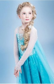 Retailer Elsa Dress + Crown Set Custom Movie Dress Girl Dress Frozen Princess Elsa Costume for Children Fashion Dress Dresses Cheap Dresses Retailer Elsa Dress + Cro