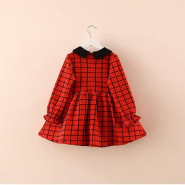 2014 Autumn Korean version of the new children clothing baby doll collar grid long-sleeved dress Children child qz-2039 Kids / Family fitted . Dresses Long-sleeved dress