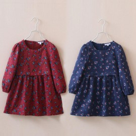 2014 Autumn Korean version of the new female childrens clothing zipper floral elastic sleeve dress baby child child qz-2030 frozen 2014 baby boy clothes boys