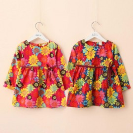 2014 Autumn Korean version of the new Hawaiian Flower Girls long-sleeved dress baby child child qz-1457 frozen 2014 baby boy clothes boys
