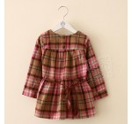 2014 Autumn Korean version of the new round neck long-sleeved grid chi…