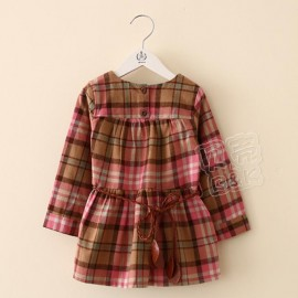 2014 Autumn Korean version of the new round neck long-sleeved grid children clothing baby child dress child qz-2013 frozen 2014 baby boy clothes boys