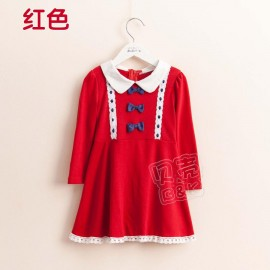 2014 Autumn Korean version of the new School of wind bow tie Girls long-sleeved dress baby child child qz-1430 frozen 2014 baby boy clothes boys