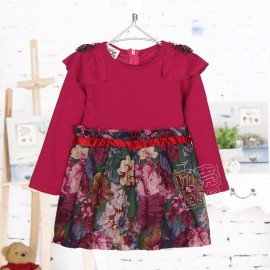 2014 Autumn Korean version of the new childrens clothing female baby child sleeved floral dress sub qz-1606 frozen 2014 baby boy clothes boys