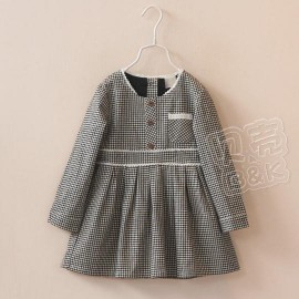2014 Autumn Korean version of the new childrens clothing female baby lace plaid long-sleeved dress Children child qz-2111 frozen 2014 baby boy clothes boys