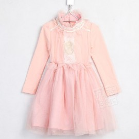 2014 Autumn new Korean Girls lace collar long-sleeved mesh princess dress children dress sub qz-1379 frozen 2014 baby boy clothes boys