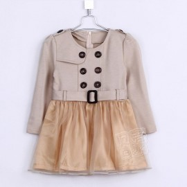 Special 2014 Autumn Korean version of the new double-breasted long-sleeved dress Girls baby child child qz-0218 frozen 2014 baby boy clothes boys