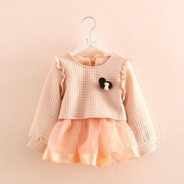 2014 Korean version of the new fall and winter clothes Girls brooch yarn fight childrens long-sleeved dress baby son qz-2126 frozen 2014 baby boy clothes boys