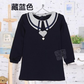 2014 Autumn Korean version of the new childrens clothing female baby child pointed collar sleeve dress sub qz-1475 frozen 2014 baby boy clothes boys