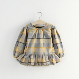 2014 Autumn Korean version of the new childrens clothing female baby child flounced plaid long-sleeved dress child qz-2127 frozen 2014 baby boy clothes boys