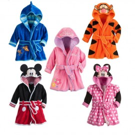 Retail 2014 New Cartoon Hooded Robe for Kids Childrens Pajamas robe kids Micky minnie mouse Bathrobes Baby Homewea 0-12Month Dresses Cheap Dresses Retail 2014 New Cartoon H
