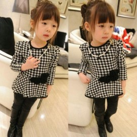 Cheap Wholesale 2014 new Autumn Korean childrens clothing girls Houndstooth dress princess dress children send necklaces Tong skirt Kids Tong skirt