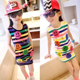2014 spring and summer childrens clothing cute female Rainbow smiley girls vest dress skirt package hip bottoming Tong skirt Kids Tong skirt