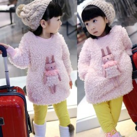 Hao Ming Babe 2014 Winter Girls cute bunny plush new round neck dress a generation of fat thickening Wei Tong skirt Kids Tong skirt