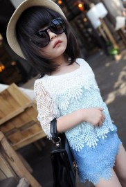 2014 The new high-end childrens clothing soluble exclusive custom gradient color lace mini dress ladies wind Tong skirt Kids Tong skirt