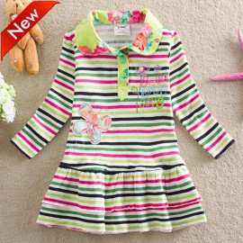 2014 New arrival 100% Cotton long-sleeved Colored stripes girls's dress with Butterfly embroidered letters Children clothing