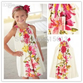 Wholesale-Top quality 2014 New hot Summer children clothing, girls Floral Drawstring Dress, 2-8Y Baby kid clothes, Raymon print fresh flower flower girl dress lace, flower grass, flower shirt, Cheap flower girl dress lace, High Quality flower