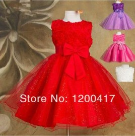 1 piece only-high quality 2014 new Girls dress for baby children Purple pink roses chiffon princess dresses, kid princess Dresses Cheap Dresses Girls dress for baby