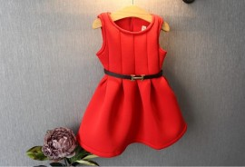 new 2014 autumn winter pleated vest dress kids clothes christmas red baby girls dresses vestido infantil suit2~7age vchristmas girls dresses winter girl vest dress girl party vest dress