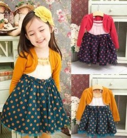 2014 Hot! Korean Style Girls Dress Dot Print Winter Cotton Princess Kids Dresses Long Sleeves Children clothing dress loops dress new dress clothing for men