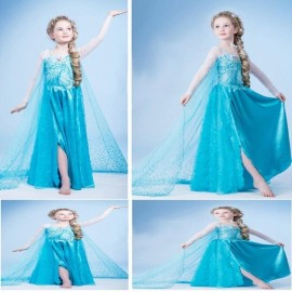 Free Shipping Kids Girls Dresses Dress Costume Ice Princess Anna Party Dress-up Queen Formal Fun Ball Gown Anna Party Dress kids Dress Girls Dresses