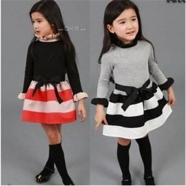 1 Pcs/Lot Free Shipping 2014 Childrens Kids Little Girls Fashion Princess Dress Striped Long-Sleeved Dress Bottoming Dress dress style dresses 2011 dress clear