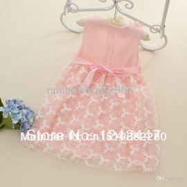 New 2014 1pcs retail chiffon woven pink/red/yellow cute knee length princess casual flowers girls dresses girls dresses
