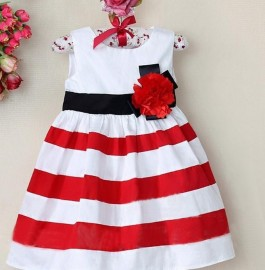 Trendy baby dress/Sleeveless striped dress with flower/Summer new design Trendy baby dress Sleeveless striped dress Summer new dress