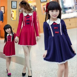 2015 Spring New Fashion Family wearing Dress Mother and Daughter Bow Knot Peter-Pan Collar Princess Slim One piece 2015 new dresses girls dresses dresses for girls
