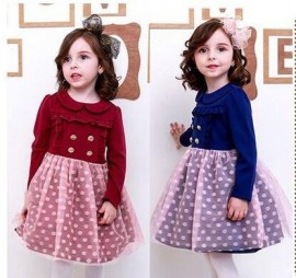 Hot sales! Free shipping! The new girl in the spring of 2015 the autumn long-sleeved dress button series hem gauze dot series 2015 new dresses girls dresses dresses for girls