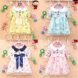 Fashion*Lovely Baby Kids Girl Long Sleeve Princesce Dress Cotton Bow Above Knee Dress dress sweater dress long sleeve dress bra
