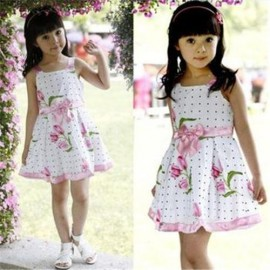 free shipping Girls Kids Cotton Princess Party Pageant Floral Sleeveless flower Dress + Ribbon Bow Outfits Dresses Cheap Dresses Girls Kids Cotton