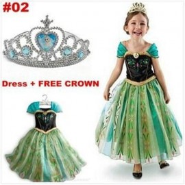 2014 New girls clothing Elsa & Anna frozen Dress For Girl Princess Dresses party costume+CROWN clothing islam dress side clothing ink