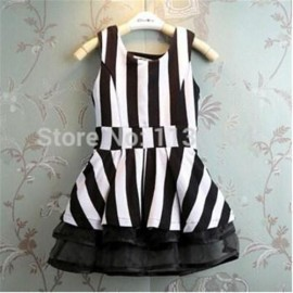 Hot Sale Kids Children Summer 2014 new fashion striped sleeveless princess girl dress black and white children dress dress services dress sharp dress jeans dress code