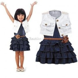 2014 Baby Kids Casual Girl Dress Cotton Jacket Coats + Denim Jeans Layered Toddler tutu Dresses with belt Vestidos Infantil A188 dress fabric by the yard dress singers dress shirt collar size