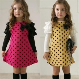 NEW Casual Korean Style Girls Polka DOT Princess Long Sleeve Dress 2 7Y Clothes free shipping clothes for small dolls clothes for dog lovers dress up winter fashion