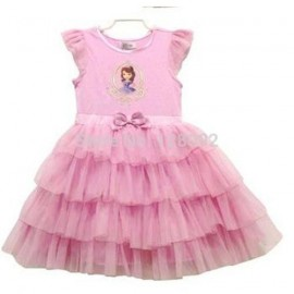 Retail 2014 New Design Baby Girls Pink Cotton Sofia Dress Girls Cute Party Princess Dress Kids Clothing Summer Dress 2-6 Age Dresses Cheap Dresses Baby Girls Pink