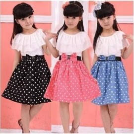 2014 girls summer dresses Baby Kids Childrens Lovely princess Two Tones Splicing Polka Dots Dress Dresses Cheap Dresses dresses Baby Kids