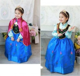 new 2014 Frozen dress Anna dress, girls dresses+red cloak summer clothing childrens clothes cartoon dress Dress girls dresses childrens clothes