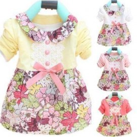 2014 NEW ARRIVAL Baby Girl Floral Cotton Princess Dress Bowknot Toddler Long Sleeve Dress 0-2Y Free shipping & Drop shipping dress white dress dress pearl dress code dresses