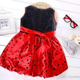 Pink/Red/Ivory Dot Print Party Dresses For Baby Girl Sweet Cute Sleeveless Princess Baby Girl Birthday Dress Knee Length Dress Sweet Red Dot Dresses Knee Length Baby Dress Baby Girl Birthday Dress