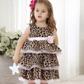 Sweet Cute Style Leopard Print Girl Tutu Dresses Round Neck Sleeveless Baby Girl Layers Dress With Ruffles Clothes Leopard Print Tutu Dress Baby Girl Layers Dresses Ruffles Children Clothes